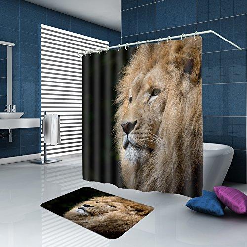 ALFALFA Home Bathroom Decorative Polyester Fabric Animal Theme Shower Curtain With Hooks, Waterproof, Mildew Resistant 72