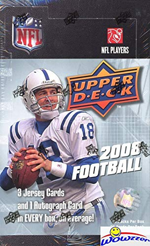 (2008 Upper Deck Football MASSIVE Factory Sealed HOBBY Box with AUTOGRAPH,3 MEMORABILIA, 4 Short Print RC, StarQuest Black Card, 2 Masterpieces Preview and (68) ROOKIE Cards! WOWZZER!)