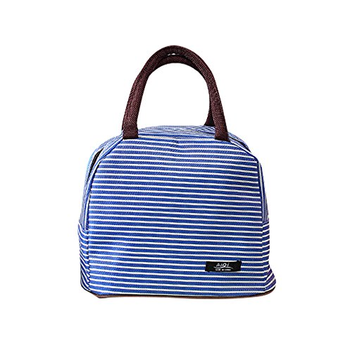 Stripe Lunch Box - Recyclable Insulated Heavy Duty Sublimation Lunch Cooler Bag with white stripes between blue for Women Men Ladies Adult Teens Kids, Lightly Personalized Designer Lunch Tote bag for stainless steel box