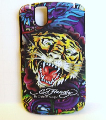 New Yellow Tiger Ed Hardy Snap on Hard Skin Back Cover Case for Blackberry Tour 9630 + Premium Lcd Screen Guard in Original Box