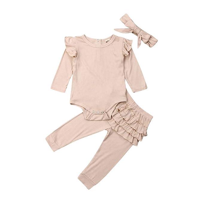 Amazon.com: Zoiuytrg Bebé Niña Volantes de Punto de Traje de ...