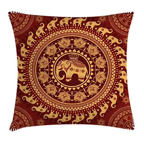 (Ambesonne Elephant Mandala Throw Pillow Cushion Cover, Tribal Mehndi Ethnic Backdrop with Lotus Flowers Guardian Animal, Decorative Square Accent Pillow Case, 18 X 18 inches, Burgundy and Yellow)