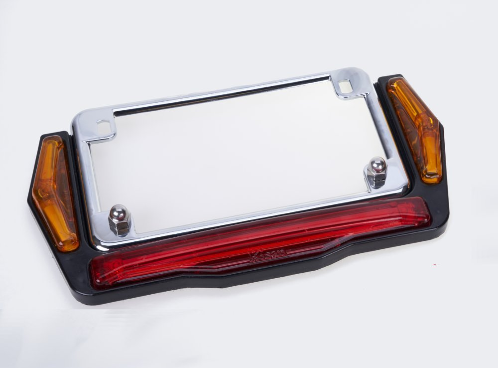 Motorcycle License Plate Frame With LED Running, Turn and Brake Lights, Reversible Top or Bottom Mount Options By Kisan W/ VL-60 Programmable Marker Signals & Turn Signal Brake Lights - Chrome