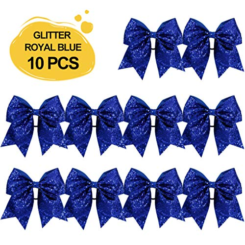 Large Glitter Cheer Bows Ponytail Holder Girls Royal Blue Elastic Hair Ties 6
