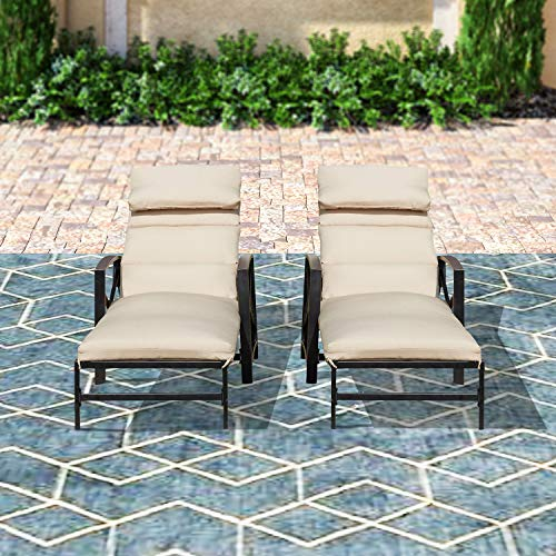 Top Space Outdoor Lounge Chairs Adjustable Back Patio Chaise Lounger with Beige Pillow All Weather Steel Frame Chair(2Pcs)