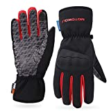AINIYF Ski Gloves | Motorcycle Winter Racing Off-Road Riding Locomotive Touch Screen Drop-Slip All-in-One Tactical Mittens Knight Warm (Color : Red, Size : M)