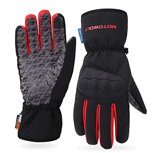 AINIYF Ski Gloves   Motorcycle Winter Racing Off-Road Riding Locomotive Touch Screen Drop-Slip All-in-One Tactical Mittens Knight Warm (Color : Red, Size : M) by AINIYF (Image #5)