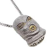 AOVR Hot Hip Hop CUBAN LINK 5mm Chain 14K Gold Plated Iced-Out CZ CRYSTAL Counter Terrorism Mask Pendant