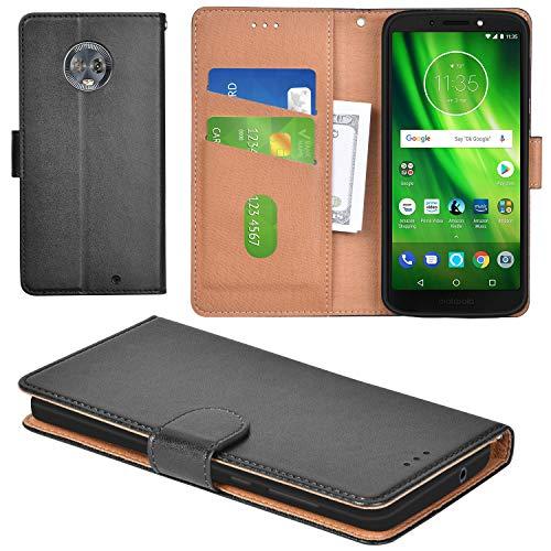 Aicoco Moto G6 Plus Case Flip Cover Leather Wallet Phone Case for Motorola Moto G6 Plus - Black by Aicoco