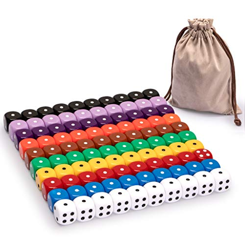 Yellow Mountain Imports Ultimate 6 Sided Dice Set Consisting of 100 Multicolored Dice with Rounded Corners and Dots