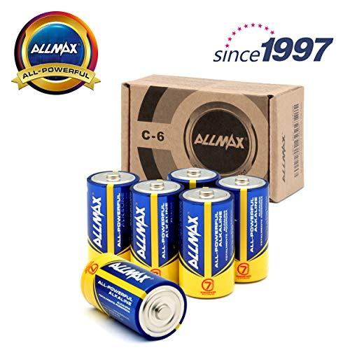 (ALLMAX All-Powerful Alkaline Batteries- C (6-Pack), Ultra Long Lasting, Leak-Proof, 1.5V Cell)