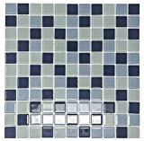 Glass Mosaic Tile, Square Collection, LAZUL - Mixed Blue Squares, 1''X1'' Square, 12''X12''X1/8'' (Box of 5 Sheets)