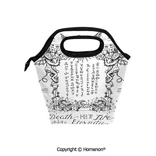 Insulated Neoprene Soft Lunch Bag Tote Handbag lunchbox,3d prited with Gothic Medieval Magic and Spell Symbols Eternal Life Ritual Chart Art Theme,For School work Office Kids Lunch Box & Food Containe