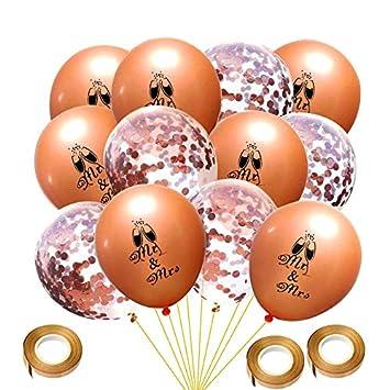 Just Married Banner Girlande und Rose Gold Konfetti Luftballons MR to Mrs Just Married Latexballon f/ür Junggesellinnenabschied Hochzeits Deko Howaf 21Pcs Rose Gold Just Married Dekorationen