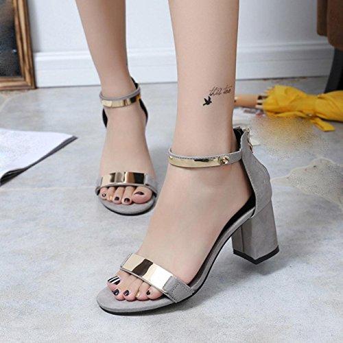 Sandalias de mujer, Internet Las sandalias del verano abren los zapatos gruesos del talón de las sandalias de las mujeres del dedo del pie Gris