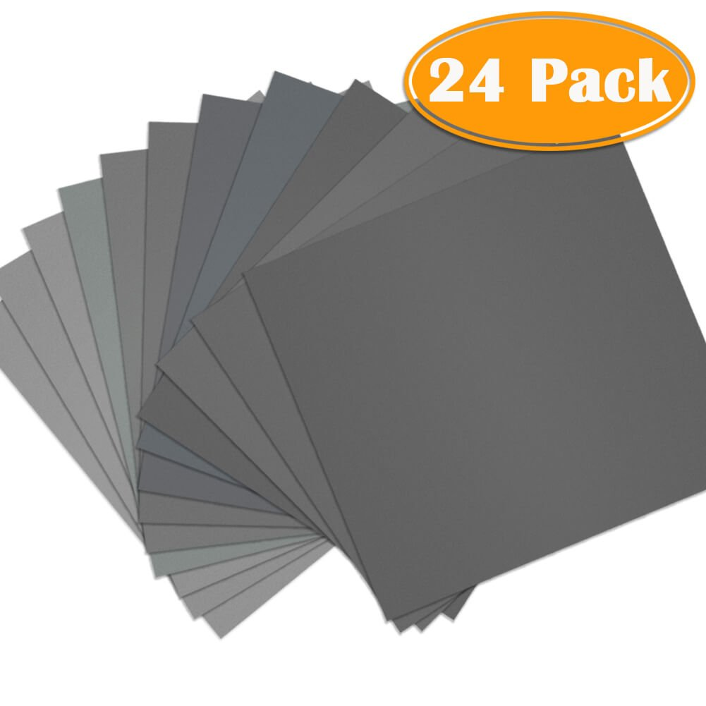 "Paxcoo 24 Pcs 9 x 11"" High Grit Wet and Dry Sandpaper Assortment 120 240 320 400 600 800 1000 1500 2000 3000 5000 7000 for Car"