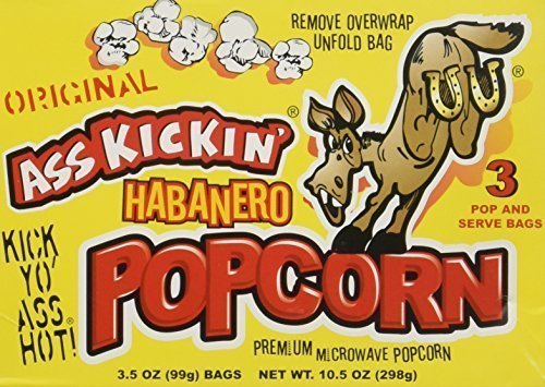 Ass Kickin' - Habanero Popcorn (3.5 Ounce per bag) (3-Pack) (2-Pack of 3)