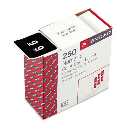 Smead : Single Digit End Tab Labels, Number 9, White-on-Black, 250/Roll -:- Sold as 2 Packs of - 1 - / - Total of 2 Each ()