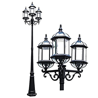 eTopLighting Contemporary Collection Exterior Outdoor Lantern with Beveled Clear Glass