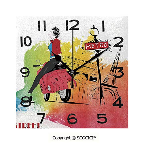 SCOCICI Square Wall Clock Woman On Pink Motorcycle Trend Vogue in Paris Eiffel Tower Art Print 8 inch Morden Wall Clocks Silent Square Decorative Clock