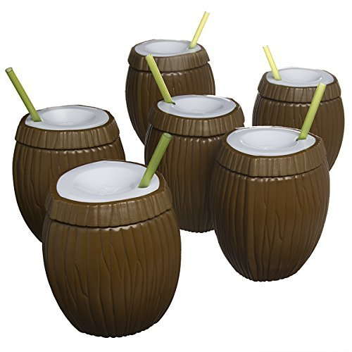 (6 Pack Set Tiki 16oz Coconut Tropical Travel Tumbler Cup Plastic Drinking Glass & Straw BPA Free Plastic Reusable)