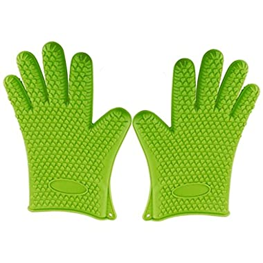 Green Heat Resistant Silicone Gloves - Great for Use In Kitchen Handling All High Temperature Food- Protective Oven, Grilling, Baking, Smoking & Cooking Gloves -, Easier Than Mitts- By Kitch N' Wares