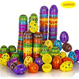 """VOGULO Toy 100 Pcs Plastic Printed Bright Easter Eggs 2.4"""" Tall for Easter Hunt, Basket Stuffers Fillers, Classroom Prize Supplies, Filling Treats and Party Favor"""