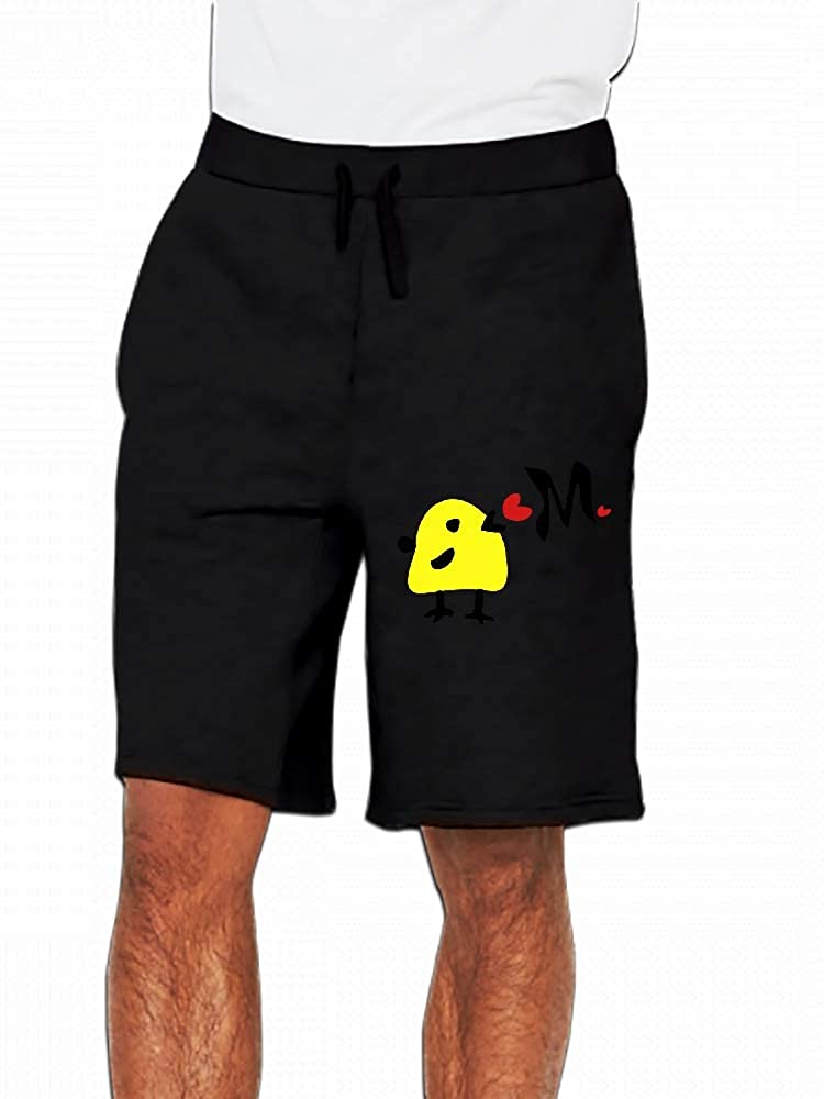 Yellow Bird Letter M Red Hearts Mens Casual Shorts Pants