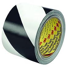 """BOX BT96857002PK Black/White 3M 5700 Striped Vinyl Tape, 36 yd. Length, 3"""" Width (Pack of 2)"""