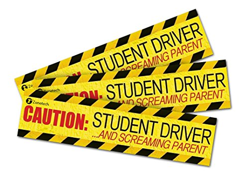 Zone Tech: (3 Pack) Caution Student Driver and Screaming Parent Funny Magnetic Bumper Sticker Sign for Student Driver - 12