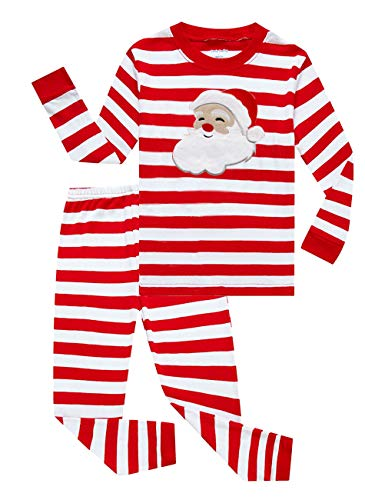 Family Feeling Little Girls Boys Santa Claus Christmas Pajamas Sets 100% Cotton Sleepwears Toddler Kids Pjs Size 3T Striped