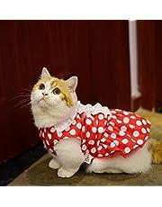 Strollway Ropa para Perros Ropa para Mascotas Verano Punteado Vestido Gato Ropa para Perros Rojo S