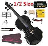 Merano 1/2 Size Black Violin with Case and Bow+Extra Set of String, Extra Bridge, Shoulder Rest, Rosin, Metro Tuner, Music Stand, Mute