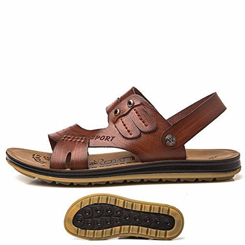 Das neue Sommer Männer Schuh Strand Schuh Faser Echtleder Männer Freizeit Mode Trend Jugend Naht Echtleder Sandalen ,braun 1,US=9,UK=8.5,EU=42 2/3,CN=44