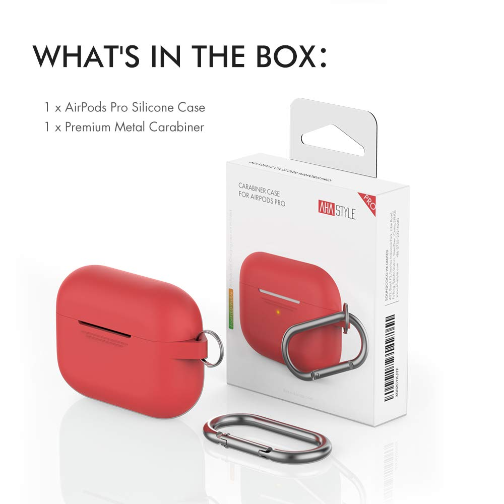 AHASTYLE AirPods Pro Case Protective Cover Front LED Visible Compatible with Apple AirPods Pro 2019 Added Carabiner Light Blue