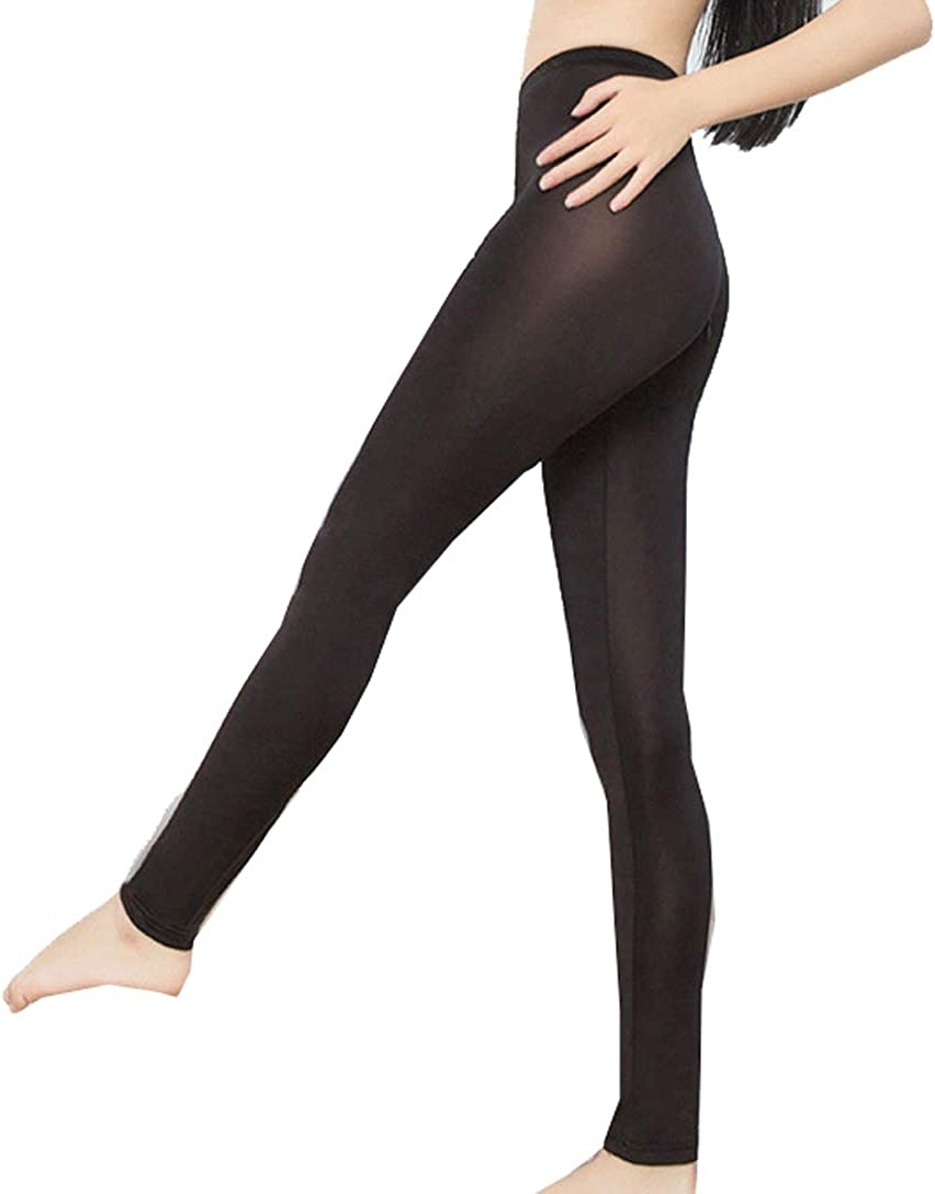 Women Transparent Ice Silk Leggings Stretchy Pants with Crop Tank Top Vest Set
