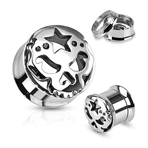 Carved Skull with Star 316L Surgical Steel Screw Fit Tunnels - Sold as Pairs (Flare 20 Chandelier)