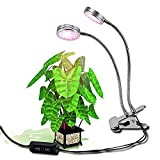 16W Led Hydroponics Plant Grow Lights, Clip Plant Lights with 2 Level Dimmable, Flexible Gooseneck