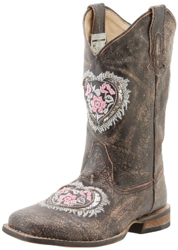 Roper Square Toe Hearts and Glitter Western Boot (Toddler/Little Kid),Brown,11 M US Little - Footwear Distressed Brown Youth Leather