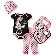 Disney Baby Minnie Mouse 5 Piece Layette Box Set, Black, 0-6 Months