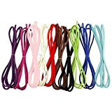 ArRord 1 Pack of Faux Suede Leather Micro Fiber Cord Assorted Colors for Friendship Bracelet Braiding String 3mm - 3.3 Feet X 10 Colors