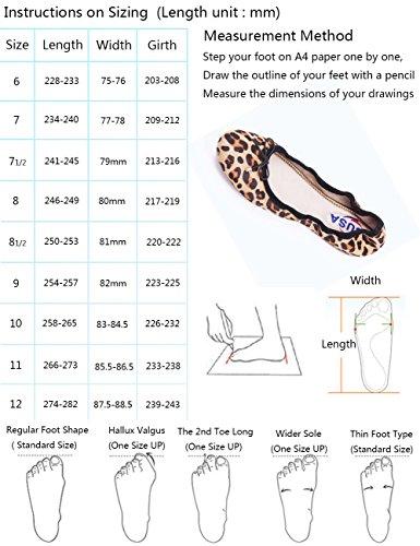 ABUSA Damen Leder / Wildleder Ballett Flache faltbare Spitzschuh Schuhe Flats-floral Wildleder