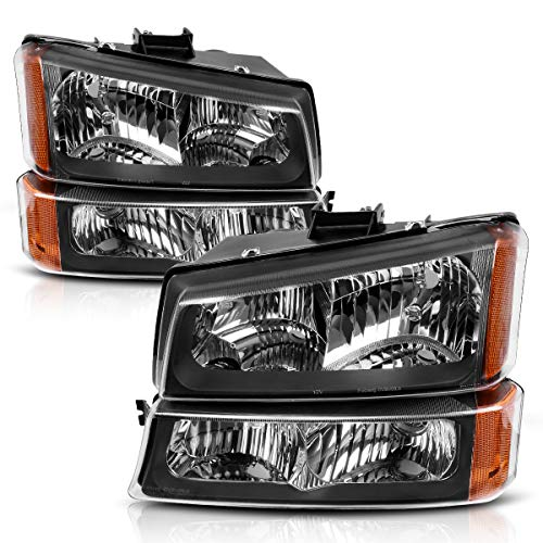 Headlight Assembly for 2003-2007 Chevy Silverado 1500HD/ 2003-2006 Chevy Silverado 2500HD/ 2003-2006 Chevy Avalanche Black Housing with Front Signal Lights (4 PCS, Not for Body Cladding Models) (2005 Chevy Avalanche Parts)