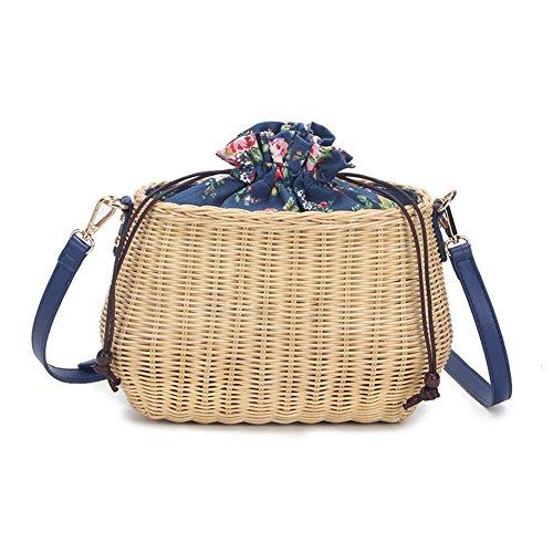 de rond rotin sac en bandouliere en femme loisirs Cathy02Marshall rond rotin rotin sac rotin femme en sac sac Bleu sac plage bandoulière en Sac de Pz1Aq