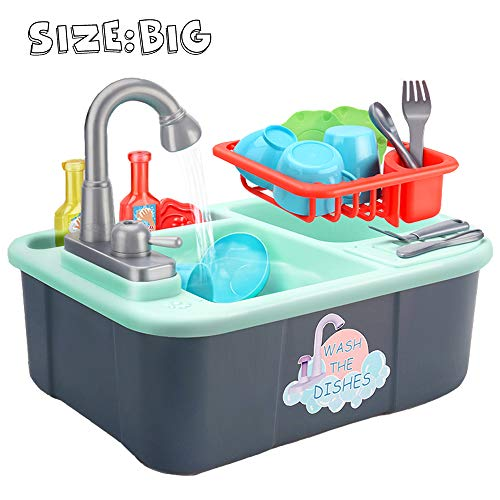 Wowok Play Kitchen Sink, Dishwasher Toy with Running Water Now $17.49 (Was $35)