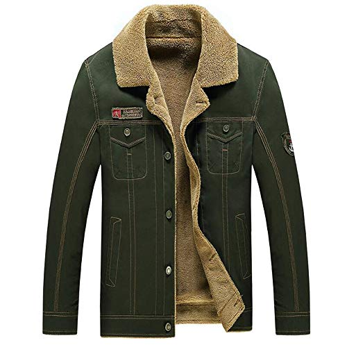 53c7a59ef03 QXH Men's Winter Cotton Jackets Fashion Keep Warm Coat(Green ...