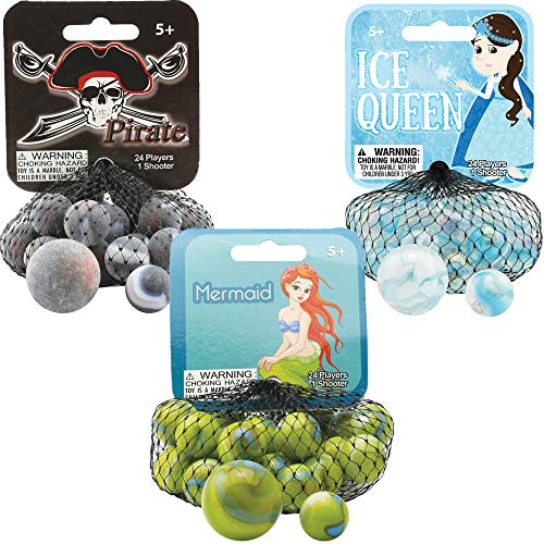 Mega Marbles 3 Pack - Pirate, Ice Queen, & Mermaid Game Nets - Includes 1 Shooter Marble & 24 Player Marbles Per -