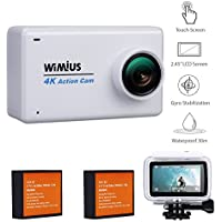 4K Action Camera Wifi WiMiUS L3 16MP 2.45 LCD Touch Screen Waterproof Sports Camera Sony Sensor IMX078 HD Camcorder With 2pcs Batteries and 20 Accessories Kits (White)
