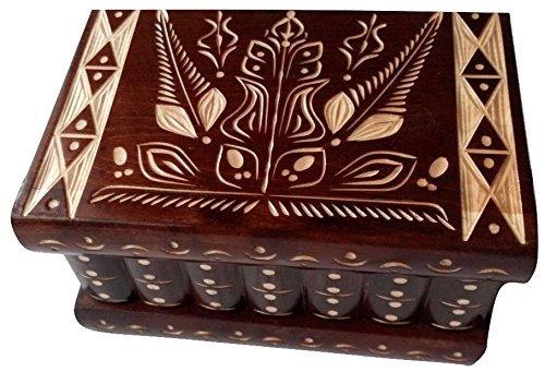 AZI Big Wooden Magic Puzzle Box Secret Treasure Storage Beautiful Special handcarved Jewelry Box case (Brown) (Magic Box Puzzle)
