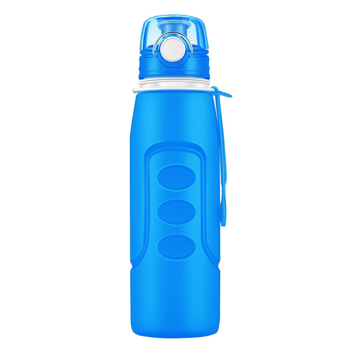 Bottiglia acqua pieghevole,Rottay bottiglia pieghevole acqua in silicone 1000 mL (35fl oz), omologato dalla FDA, Bottiglia di acqua con ampia bocca-BPA Free-flip superiore ermetica-ermetica, portatile (blu)
